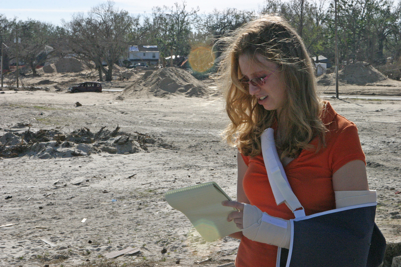 Reporting on the Mississippi coast. (Photo by Lyle Ratliff | November 2005)