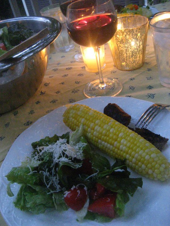 Salad corn and meat