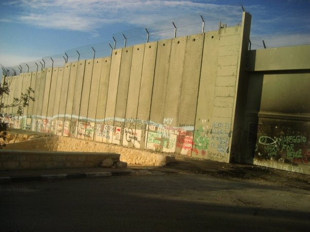 "The Israel security wall. Notice on the bottom right, it says, ""Made in USA."""