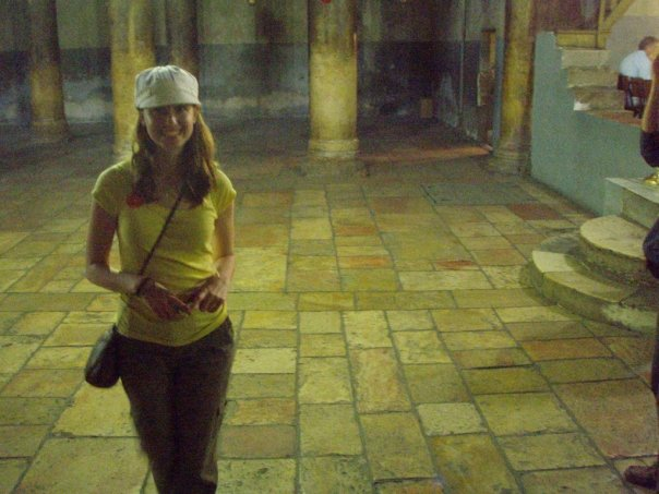 "Me in the church in Bethlehem on the spot where Jesus is said to have been born. I entered chewing gum and was quickly admonished by some angry Germans. I said, ""Es tut mir leid,"" (I'm sorry) and took the gum out of my mouth. That seemed to appease them."
