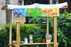 "A photo of a lemonade stand with the sign, ""Our first lemonade stand."""